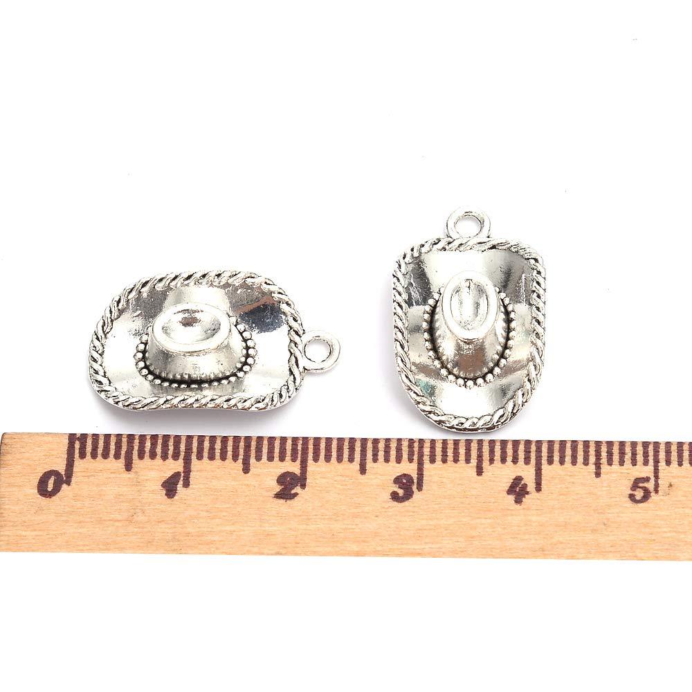 60Pcs Cowboy Hat Charms DIY Jewelry Making Pendant Fit Bracelet Necklace Vintage Shiny