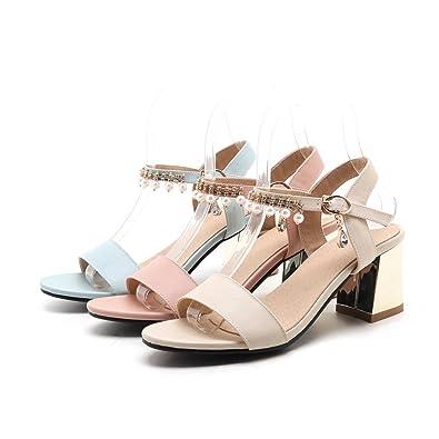 70558e2938f2b6 OALEEN Sandales Elégante Femme Bout Ouvert Talons Moyen Bride Cheville  Chaussures Soirée