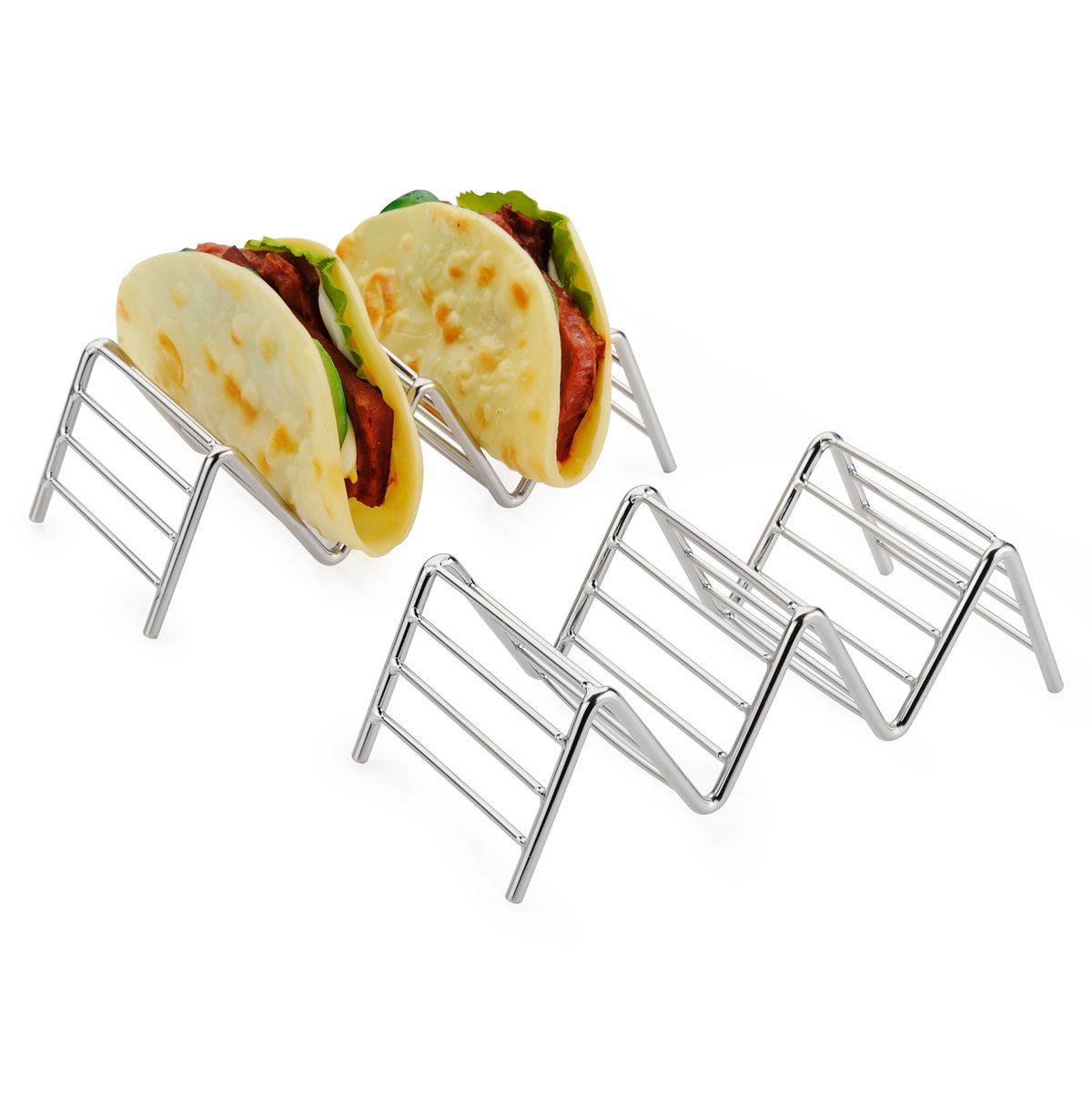 2-pack Taco Holder, Amazer Taco Stand Stainless Steel Rustproof Taco Rack Hold 2 or 3 Hard or Soft Taco Shells Taco Truck Tray Style Oven Safe for Baking