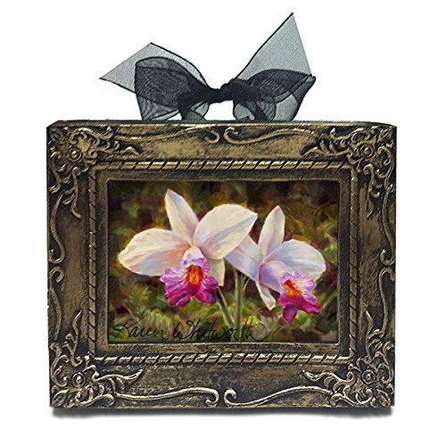 Handmade Antique Style Mini Framed Hawaiian Bamboo Orchid Ornament by Karen Whitworth