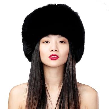 ad35623237f URSFUR Women s Fox Fur Siberian Mongolian Ushanka Trapper Hats (Black)