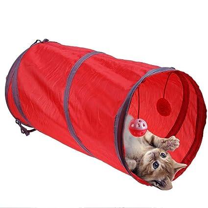 Longzhuo - Túnel Plegable para Gato con Bolas para Colgar