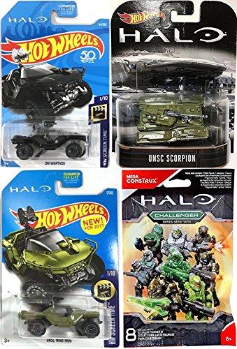 Halo Hot Wheels Figure & Vehicles Video Game Pack 2018 ONI Warthog Black & UNSC Scorpion Tank Retro & Warthog Army Green + Mini Figure Halo Blind Bag Challenger (Bell Hot Wheels)