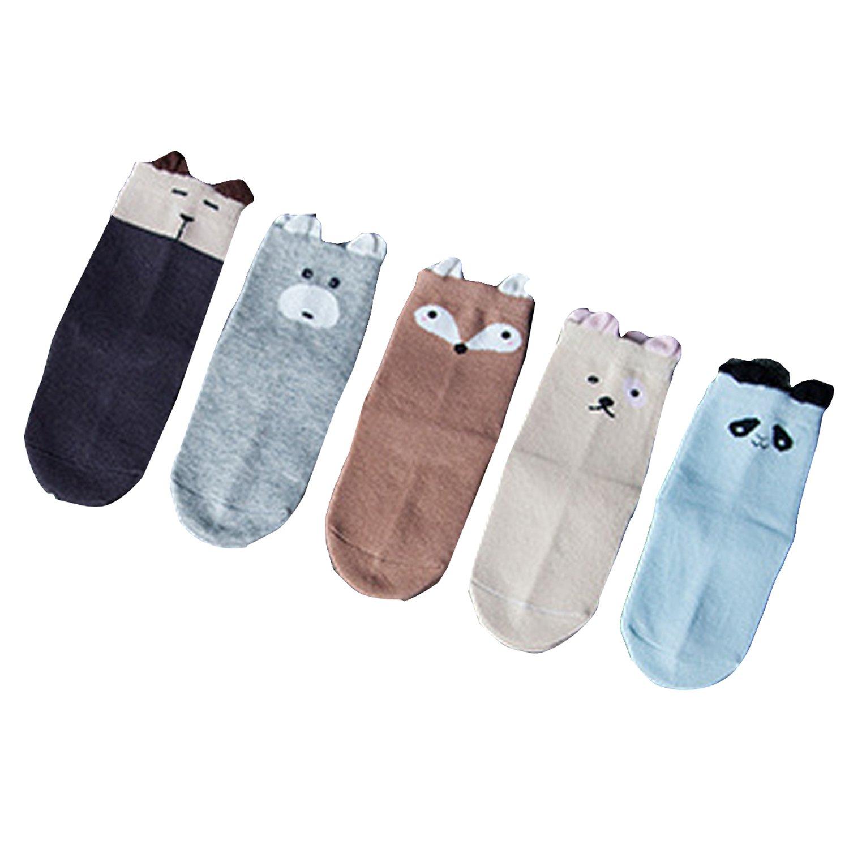 5 Pairs Lovely Baby Boy Girl Cartoon Ankle Socks Kids Soft Cotton Warm Footsocks