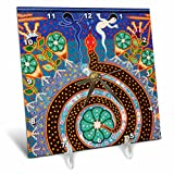 3dRose dc_92754_1 Folk Art, Huichol Art, Santa Fe, New Mexico US32 JMR1118 Julien Mcroberts Desk Clock, 6 by 6