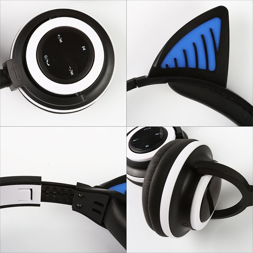 Auriculares de diadema con micrófono y control de volumen, Bluetooth, inalámbricos y con cable, diseño de orejas de gato, con luces LED parpadeantes: ...
