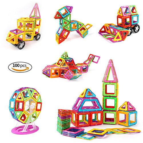 idoot Magnetic Blocks for Kids, Educational Building Toys Magnetic Tiles Ferris Wheel STEM Set - 100pcs