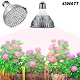 E27 45W Led Grow Light Gianor Full Spectrum Led Grow Bulb 78PCs SMD 5730 Chips Greenhouse Growing and Flowering Lamps for Indoor Garden and Hydroponic Plants(AC 85~265V)