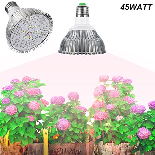 E27 45W Led Grow Light Gianor Full Spectrum Led Grow Bulb 78PCs SMD 5730 Chips Greenhouse Growing and Flowering Lamps for Indoor Garden and Hydroponic Plants(AC 85~265V) by Gianor