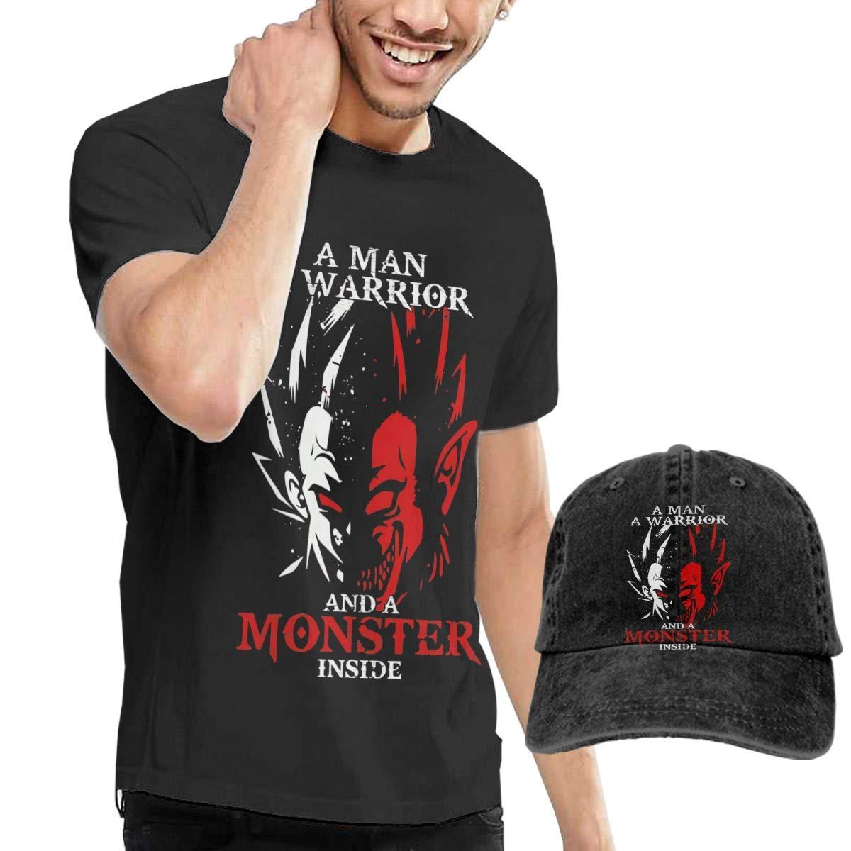 Xzmafthfrw Man Dragonball Z Goku and Vegeta Casual T-Shirt with Cowboy Hat