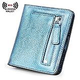 BIG SALE-AINIMOER Women's RFID Blocking Leather Small Compact Bifold Pocket Wallet Ladies Mini Purse with id Window (Blue Gold)