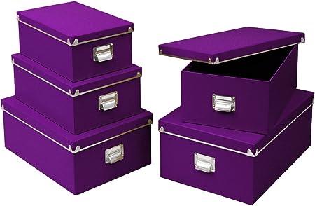 Zeller 17954 - Cajas de cartón para almacenaje, 5 Unidades; 40 x 29 x 17 cm; 38 x 27,3 x 15,5 cm; 35,5 x 24,5 x 14,5 cm; 33,5 x 22,5 x 13,5 cm; 30,5 x 19,7 x 12,5 cm, Color Morado: Amazon.es: Hogar