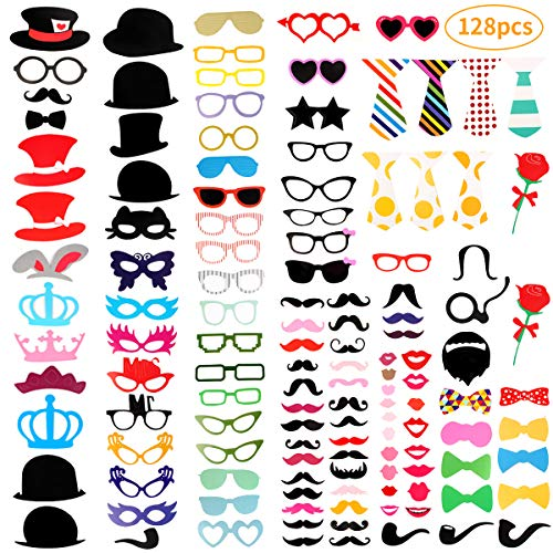 KIDCHEER Photo Booth Props 128pcs DIY Kit for Thanksgiving, Christmas, Wedding, Birthday, Party, Photo Booth Novelty Dress Up Accessories Party Decorations Supplies]()