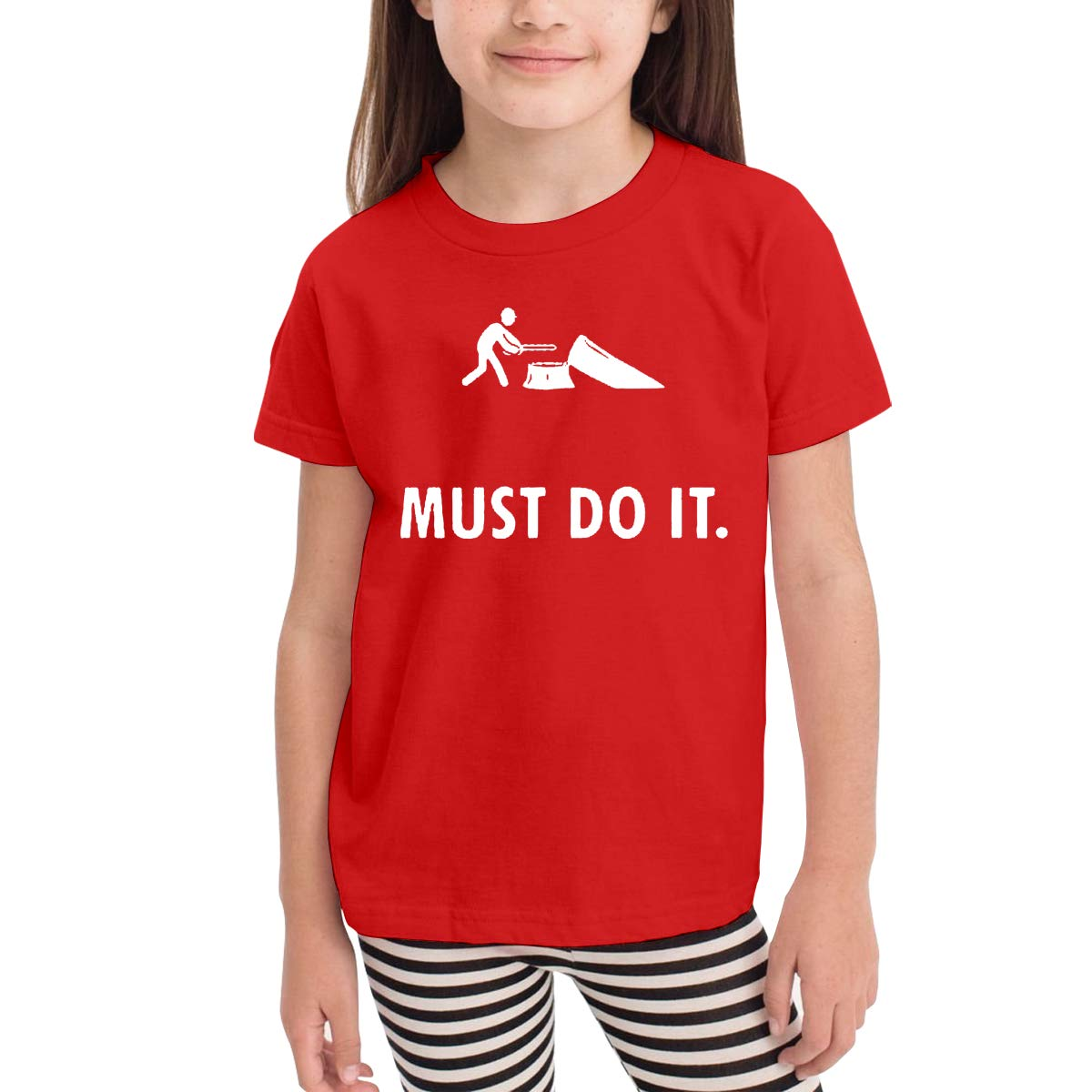 Must Do It Unisex Youths Short Sleeve T-Shirt Kids T-Shirt Tops Black