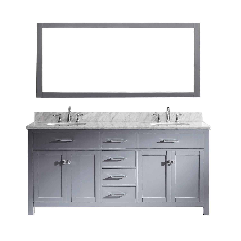 Virtu Usa Caroline 72 Inch Double Sink Bathroom Vanity Set In Grey W