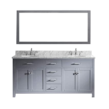Pleasing Virtu Usa Caroline 72 Inch Double Sink Bathroom Vanity Set In Grey W Round Undermount Sink Italian Carrara White Marble Countertop No Faucet 1 Home Interior And Landscaping Ologienasavecom