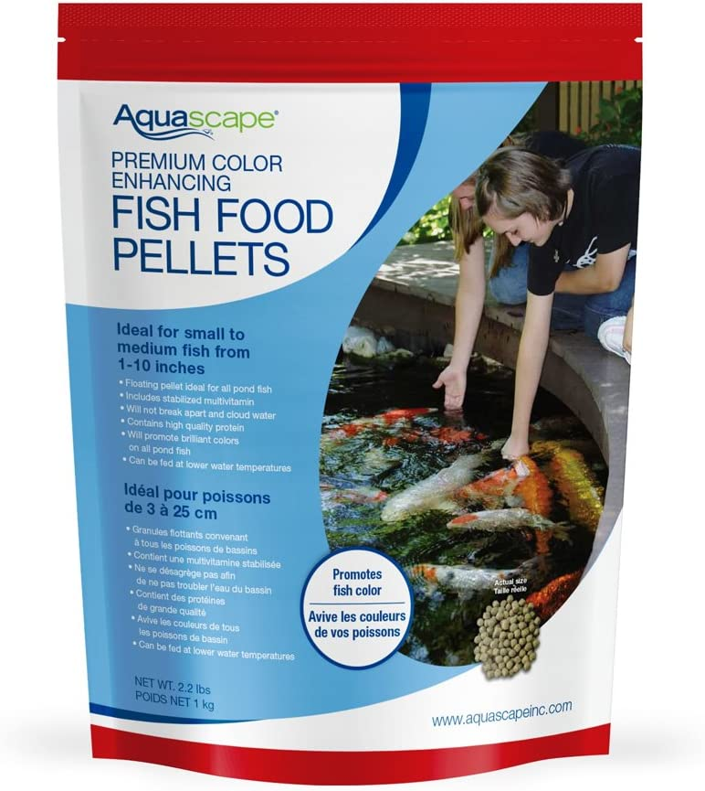 Aquascape Premium Color Enhancing Fish Food for Small to Medium Koi and Other Pond Fish, Medium Pellet, 2.2 Pounds | 98874