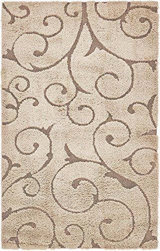 Unique Loom Floral Shag Collection Carved Plush Light Brown Home Décor Area Rug (5' x 8') - Brown Carved Vines
