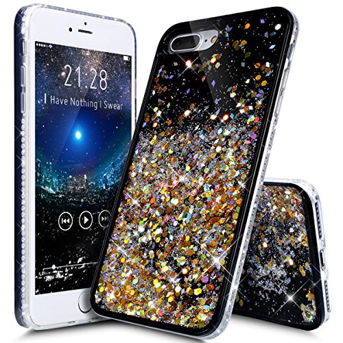 Price comparison product image iPhone 8 Plus Case,iPhone 7 Plus Case,ikasus Flowing Floating Quicksand Bling Glitter Sparkle [TPU+PC] Rhinestone Diamond Bumper Glitter Sparkle Bling Case Cover for iPhone 8 Plus / 7 Plus,B