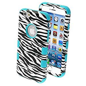 MYBAT Tuff Hybrid Protector Cover for iPhone 6 - Retail Packaging - Zebra Skin/Tropical Teal