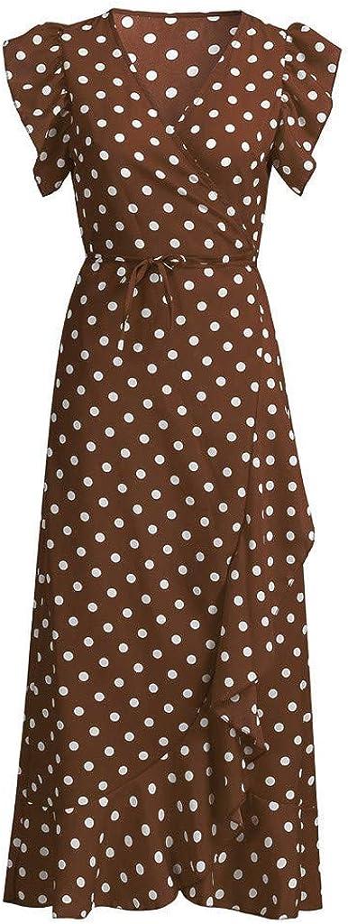 Dresses for Women Dot Print Boho Maxi Dress V Neck Irregular Hem Casual Summer Party Long Sundress