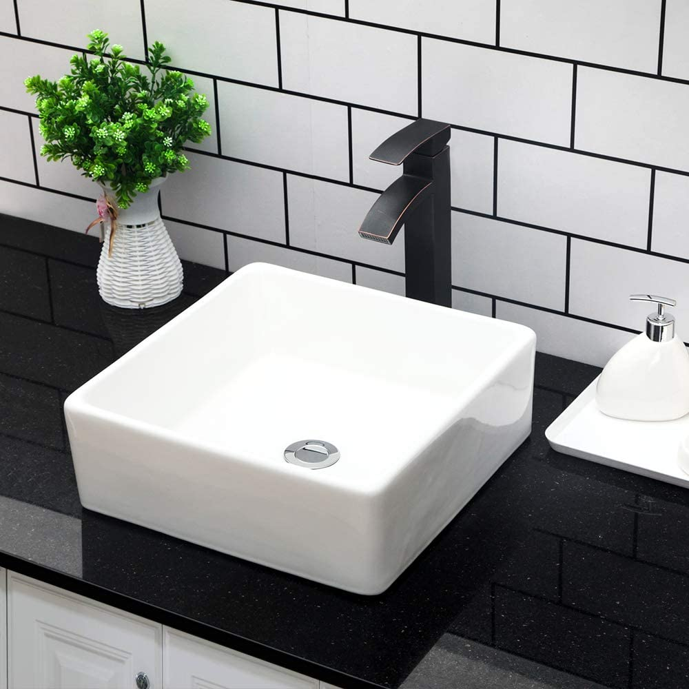 Kichae 15 x15 Modern Bathroom Rectangle Above White Porcelain Ceramic Vessel Vanity Sink Art Basin