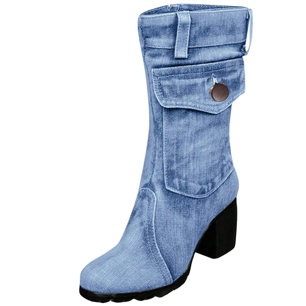 ZOMUSAR Women's Boots, Fashion Women's Mid-Rise Rome Solid Large Size Slip-On Chunky Med Heels Boots Shoes Light Blue by ZOMUSAR