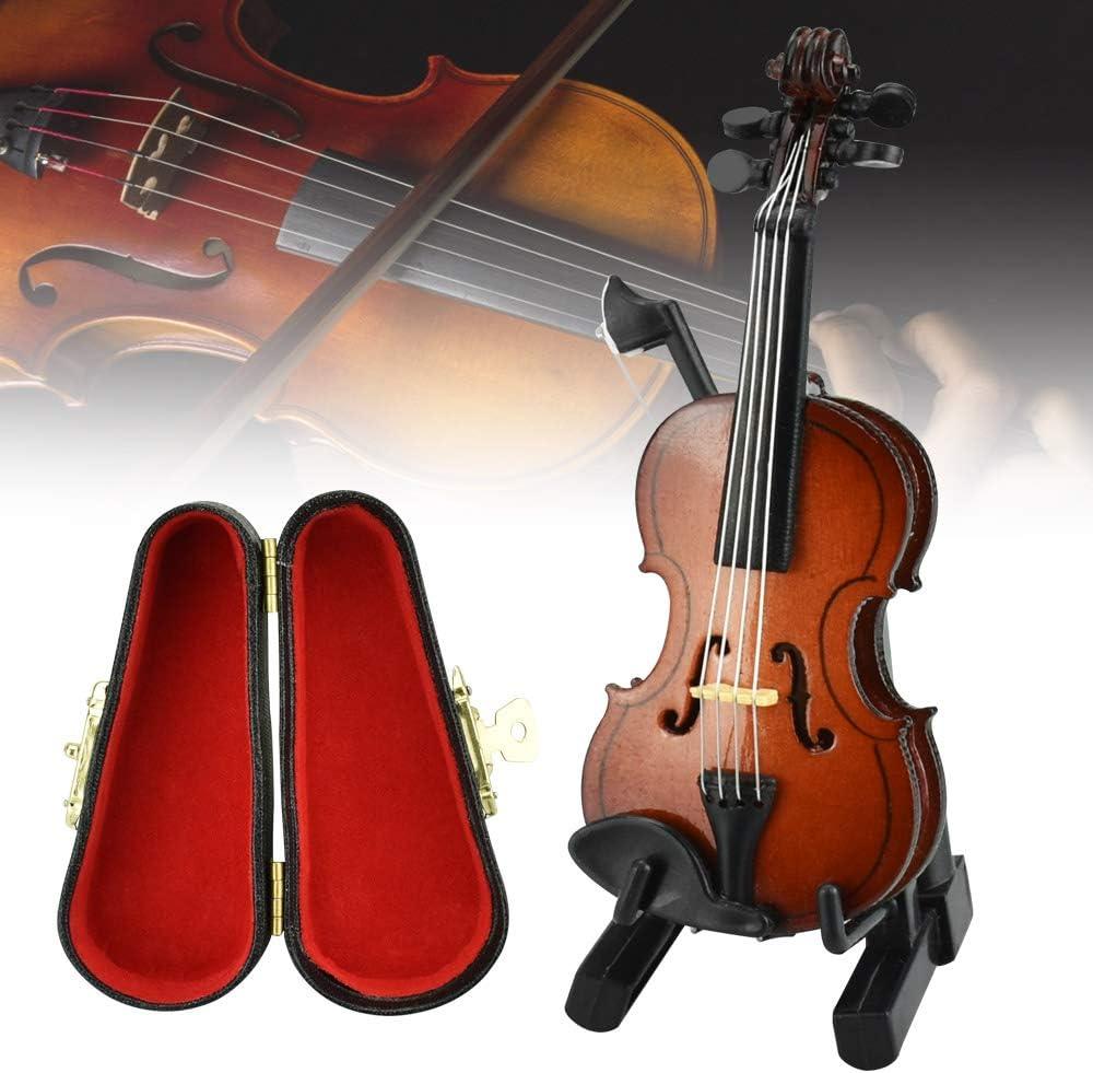 CODIRATO Violín Miniatura de Madera Mini Modelo de Instrumento Musical Mini violín con Soporte de Arco y Caja Negro Violín de Juguete para Decoración de Hogar Oficina, Regalo de Cumpleaños (Marrón)