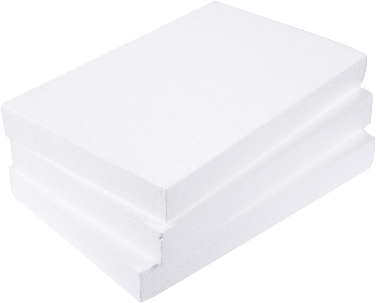 Juvale Foam Rectangle, Arts and Crafts Supplies (17 x 11 x 2 in, 3-Pack)