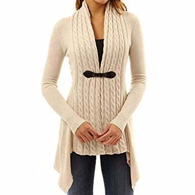 1860d80ccb6 Long Sleeve Knitted Drape Buckle Braided Front Cardigan Sweater for Women  Ladies