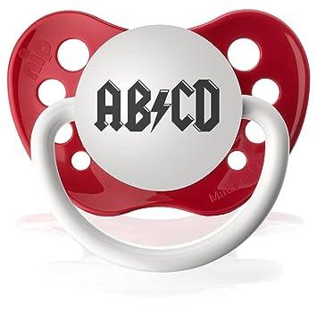 Amazon.com: Personalizado ABCD Rock chupetes Chupete en rojo ...