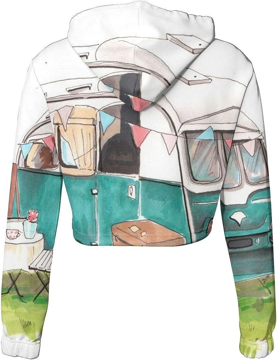 Womens Hoodie Sweater Travel Trailer On Camping Parking Crop Top Sweatshirt Lumbar Sweatshirt Cropped Hoodie