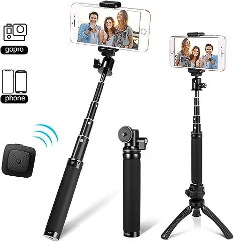 Mini Treppiede Set Selfie Stick 4F iPhone,Samsung ed Altri Smartphone Fotopro Bastoni Selfie Adattatore Mobile Phone Selfie Stick e Mini Treppiede 3-in-1 Bluetooth Remote Shutter per Gopro