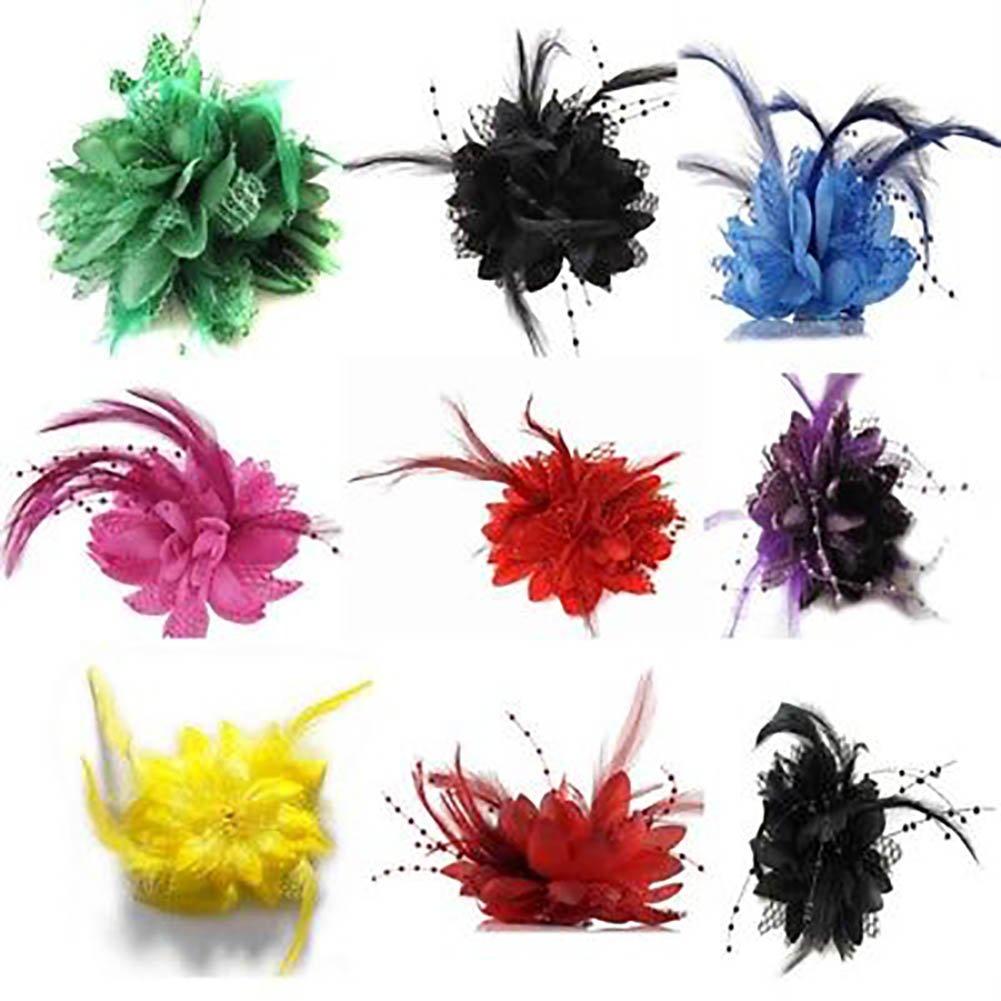 longyitrade Fashion Flower Feather Bead Corsage Hairband Pin Wedding Headwear Decor Gift White