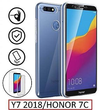 New & Teca – Carcasa Huawei Y7 2018 – Protección Integral Frontal + Trasera en rígida, Funda – Funda táctil 360 Grado – antigolpes, Transparente Y7 ...