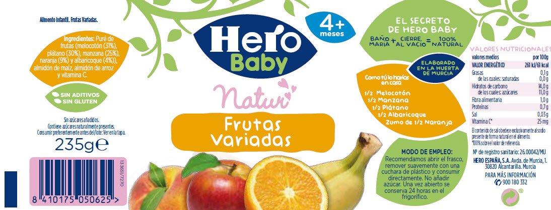 Hero Baby - Infantil Frutas Variadas. A Partir De 4 Meses. Sin gluten: Amazon.es: Alimentación y bebidas