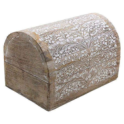 Mango Wood Jewelry Storage Boxes Hand Carved with Floral Motifs (Treasure Chest Card Box)