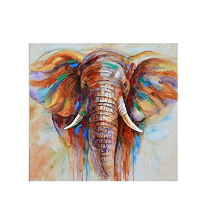 Decdeal Wall Decoration Paintings Hand Painted Elephant Oil Painting Canvas  Wall Picture Gift 32u0026quot;32u0026quot