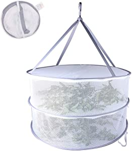Adwaita Herb Drying Rack Clothes Drying Rack 2 Layers Hanging Drying Rack for Buds & Hydroponic Plants or Delicates with Zippers Collapsible Net Dryer White Mesh Net with Carry Bag