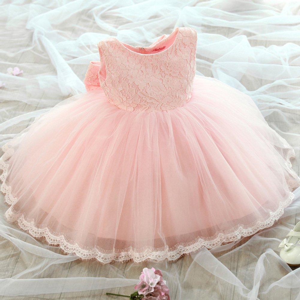 2-3years Il vestito da partito dei vestiti da partito delle neonate dei capretti fiorisce la principessa Bowknot della damigella donore di cerimonia nuziale del vestito Pink 100cm