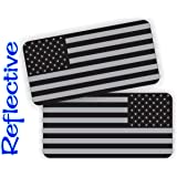 Pair - REFLECTIVE Stealthy American Flag Hard Hat Stickers | Black Ops Decals | Tactical Gear Survival Labels | USA…