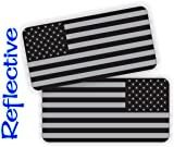 Pair - REFLECTIVE Stealthy American Flag Hard Hat