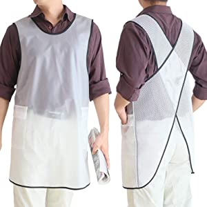 100% Waterproof Cross Back Apron With Pockets For Women Men Dishwashing, Cleaning Fish, Lab Work, Dog Grooming, Gardening, Painting White Translucent