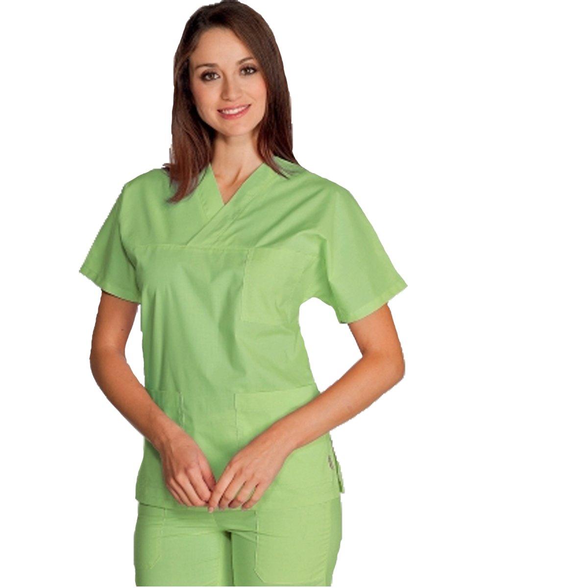 Fratelliditalia Casacca ospedaliera in cotone scollo V dottore infermiere nero giallo beige blu azzurro celeste