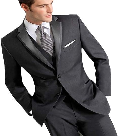 YZHEN Mens Dress Suit Notched Lapel Slim Fit Two Button Tux