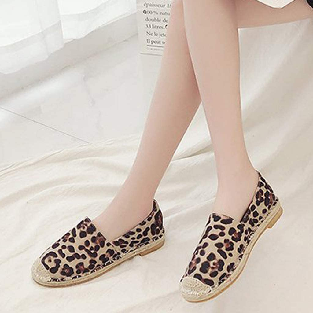 Midress Womens Slip On Leopard Loafers Breathable Comfortable Round Toe Slacker Fisherman Thin Leopard Shoes Womens Flats