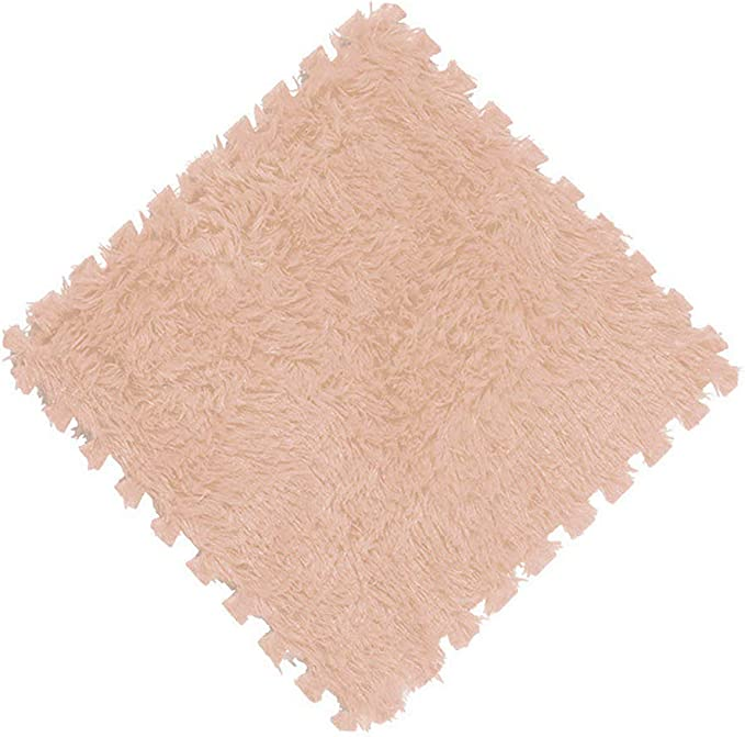 11.8x11.8x0.4in D/&LE Interlocking Floor Tiles with Edges,Plush Area Rug Rugs,Playmat for Crawling Playing Yoga-Beige 30x30x1.0cm x10 Tiles