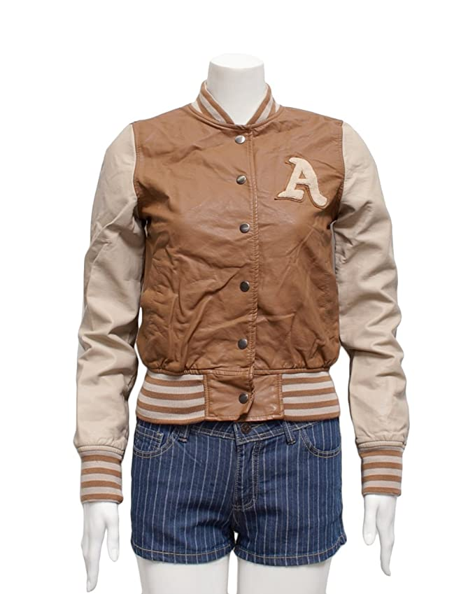 Ladies Camel A patch Letterman Synthetic Leather