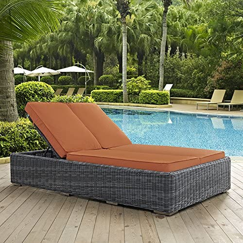 Modway Summon Outdoor Patio Double Chaise Lounge With Sunbrella Brand Tuscan Orange Canvas Cushions