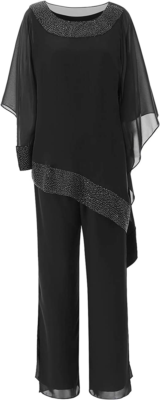 LoveeToo Womens 3 Pieces Chiffon Mother of Groom Bride Dress Pant Suits Long Sleeves with Outfit for Wedding Groom